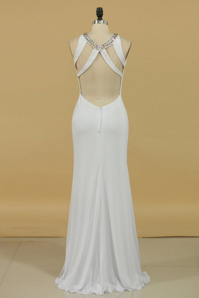 New Arrival Scoop Open Back Prom Dresses With Beads And Slit Spandex Sheath