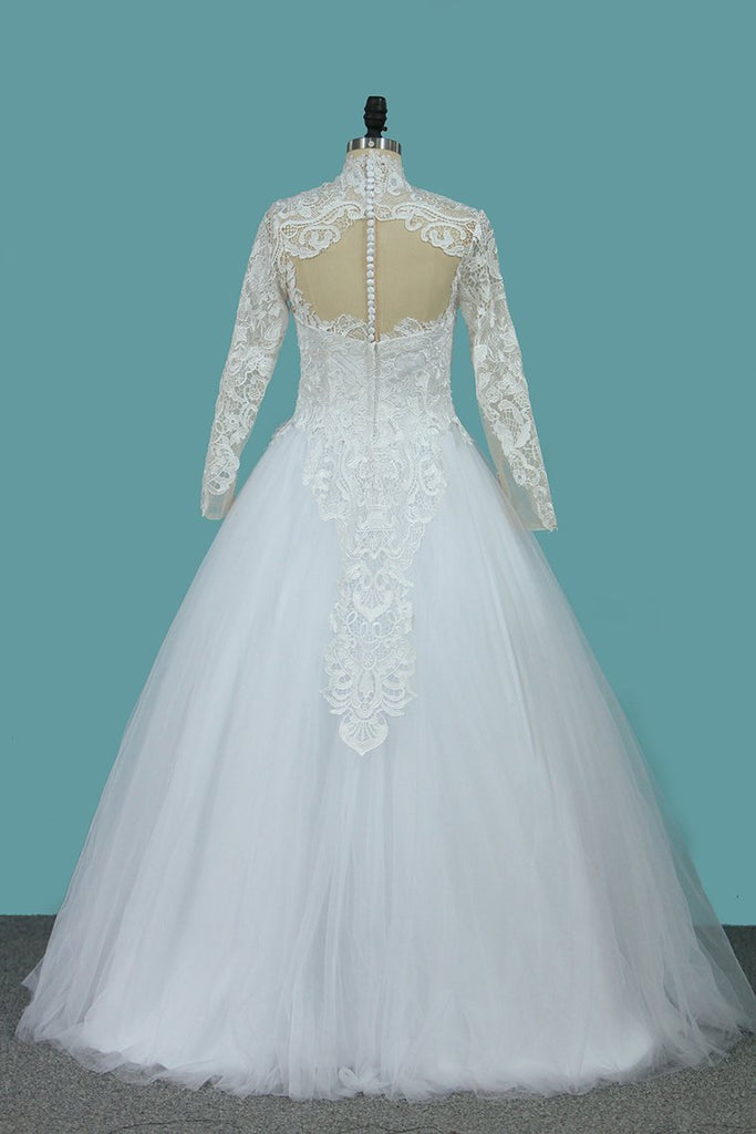 A Line Long Sleeves High Neck Tulle With Applique Chapel Train Detachable Wedding Dresses