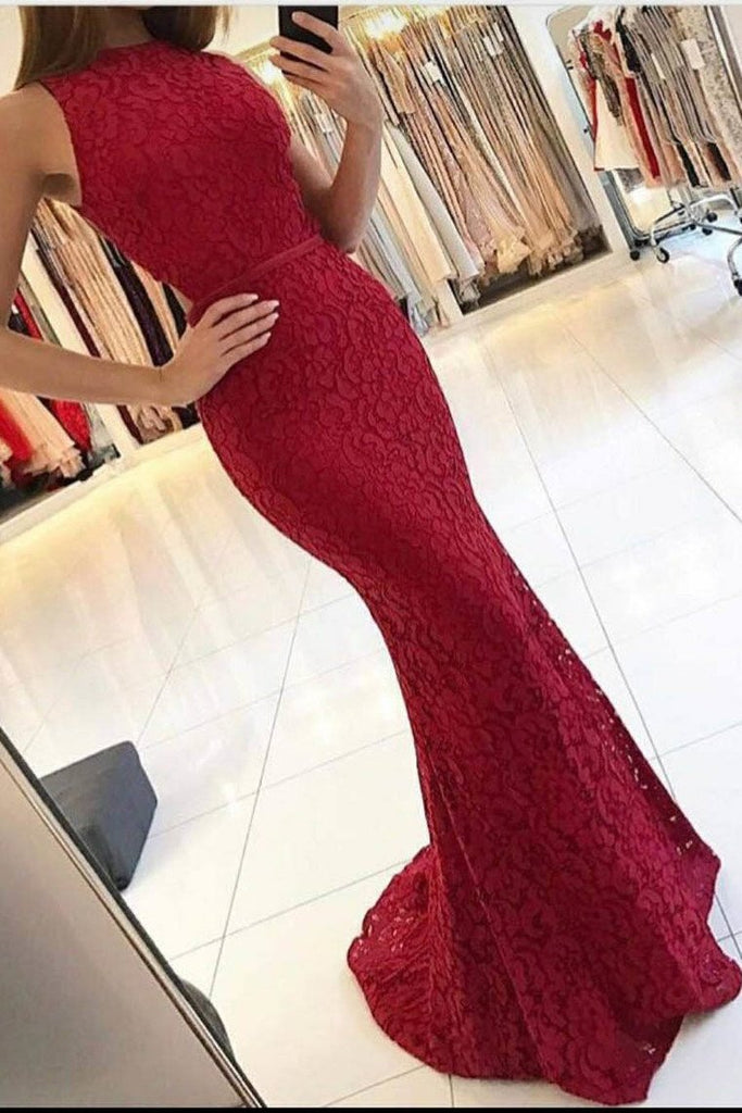 New Arrival Scoop Open Back Lace Evening Dresses Mermaid