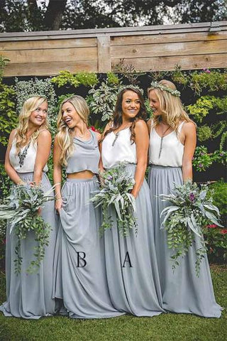 A Line Two Piece V Neck Sleeveless Floor Length Gray Chiffon Bridesmaid Dress