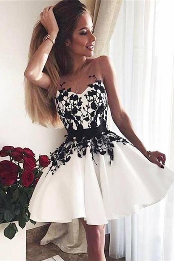 A-Line V-Neck White Sweetheart Satin Above Knee Homecoming Dress with Black Appliques JS668