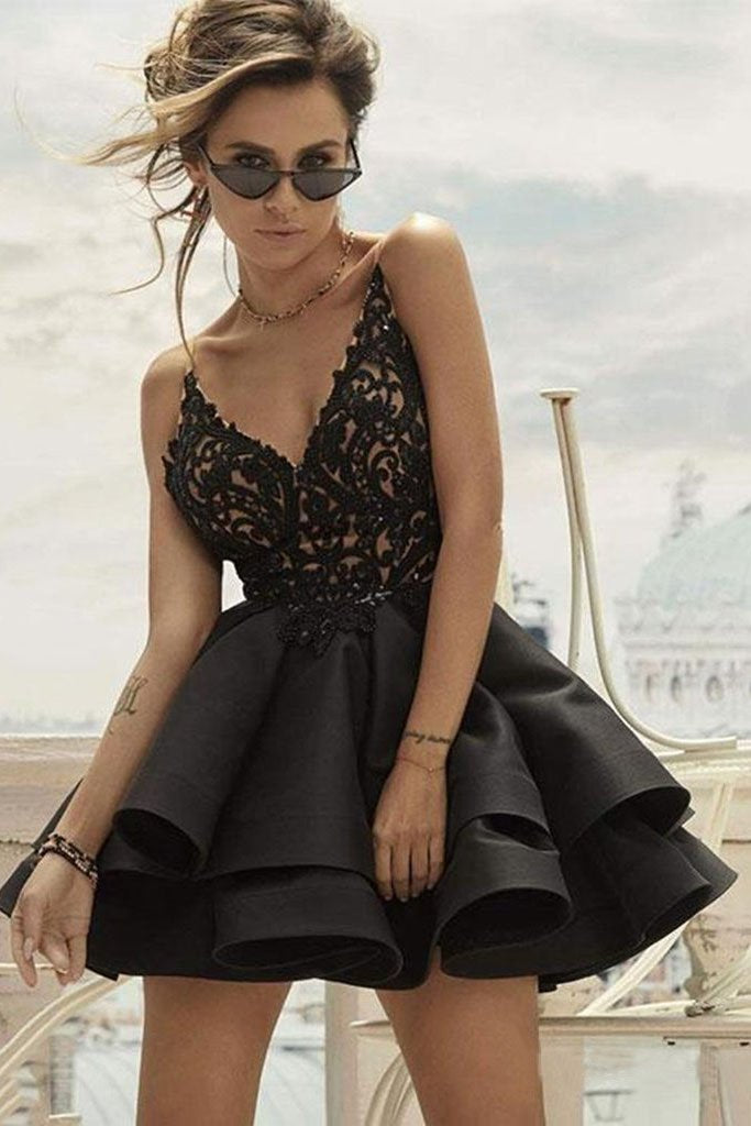 A Line V Neck Lace Layered Black Top Lace Short Homecoming Dresses with Spaghetti Straps H1188