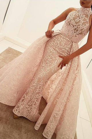 Mermaid High Neck Court Train Detachable Light Pink Lace Quinceanera Dress Prom Dresses JS207