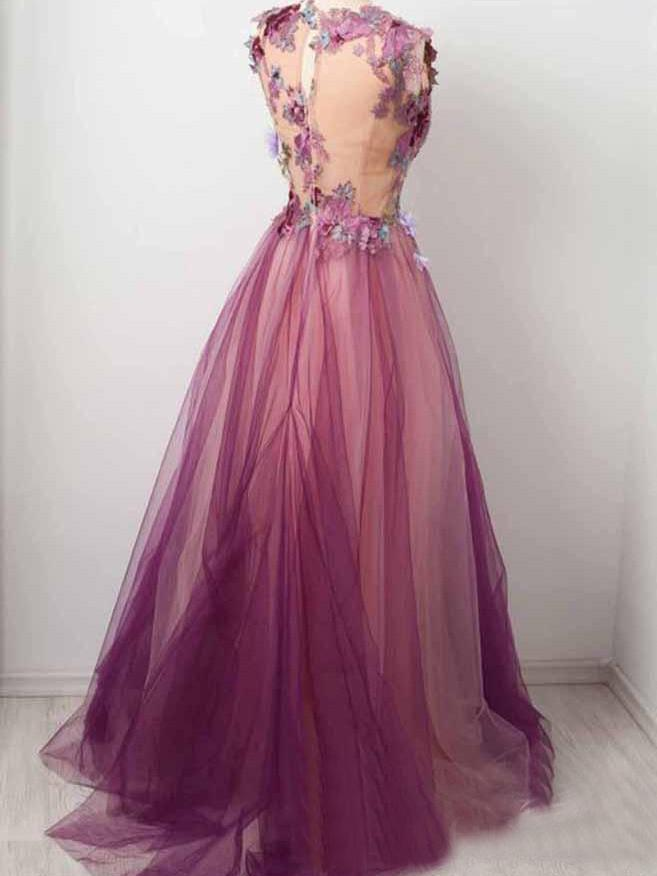 Tulle Flower A Line Prom Dresses Scoop neck Appliqued Party Dress GD00014