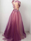 Tulle Flower A Line Prom Dresses Scoop Appliqued Party Dress