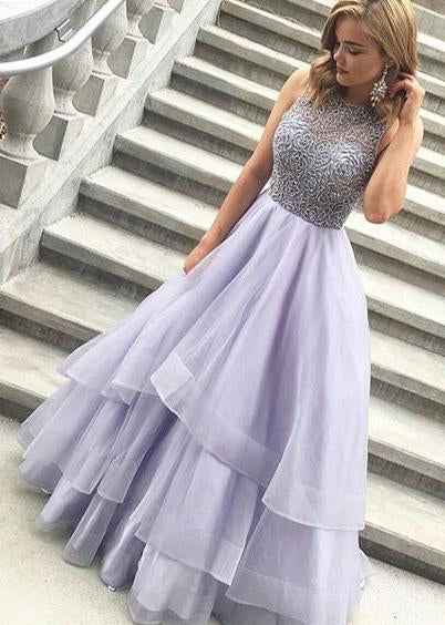 Floor Length Long Beading Tulle Open Back Prom Dresses Princess Dresses