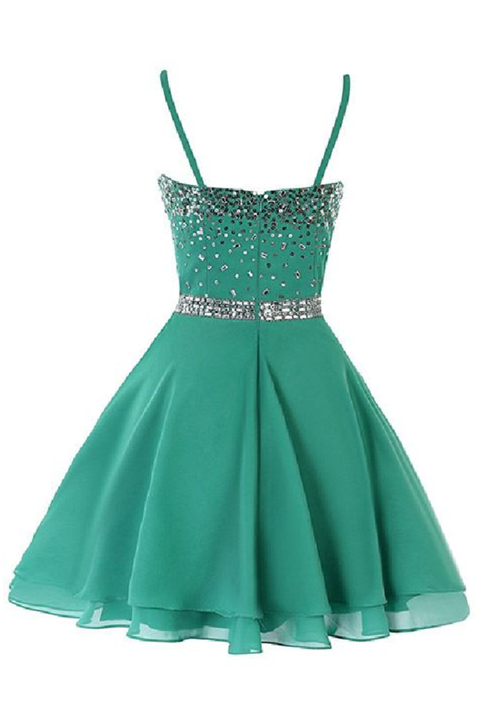 New Arrival Homecoming Dresses A Line Spaghetti Straps With Beads Chiffon