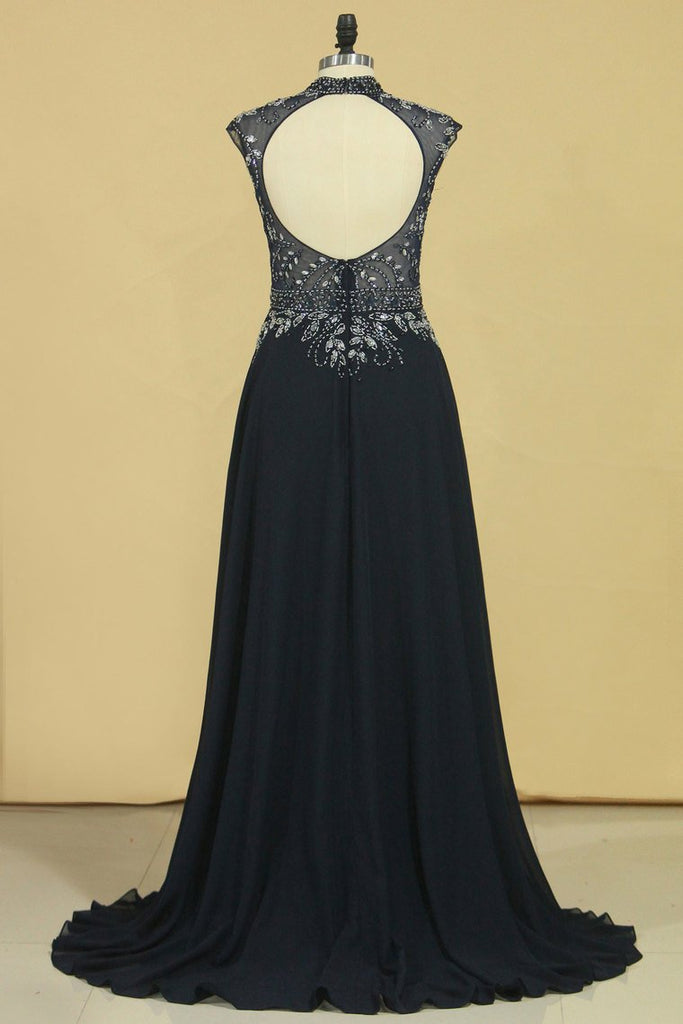 A Line High Neck Beaded Bodice Prom Dresses Open Back Chiffon