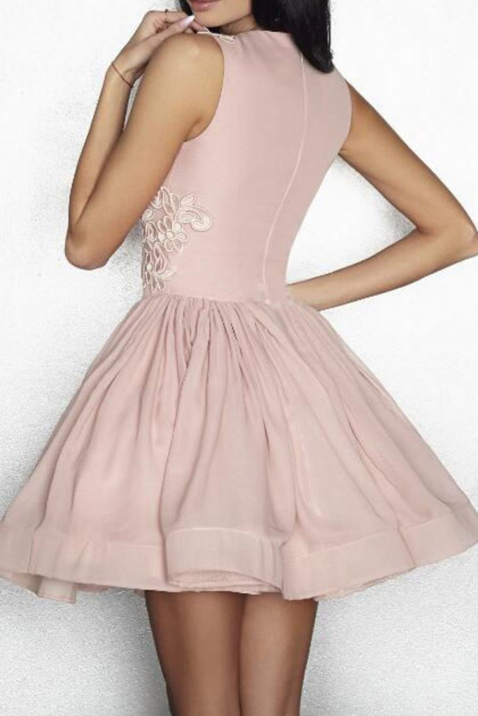 Homecoming Dresses A Line Scoop Chiffon With Applique Short/Mini