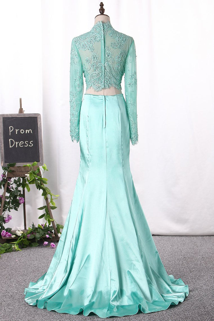 New Arrival Two Pieces Mermaid Elastic Satin&Tulle With Appliques Long Sleeves Prom Dresses