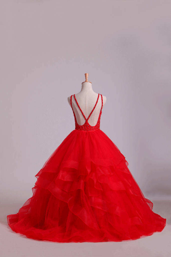 Red Scoop Ball Gown Tulle Floor Length With Beading
