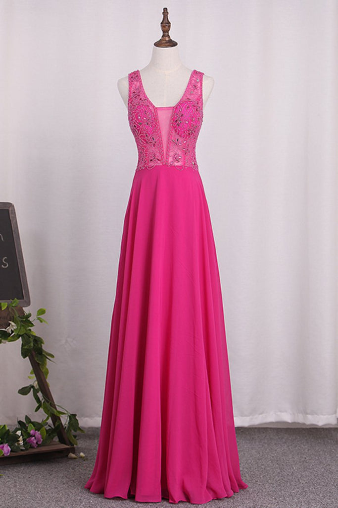 Prom Dresses A Line V Neck Beaded Bodice Chiffon Open Back