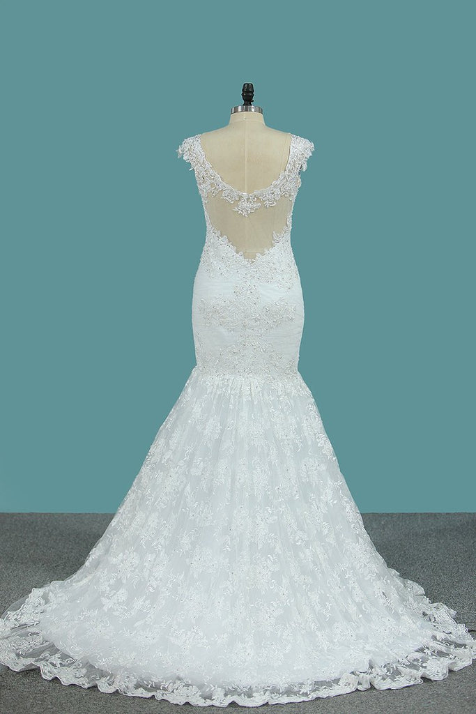 Wedding Dresses Straps Mermaid Tulle With Applique Sweep Train
