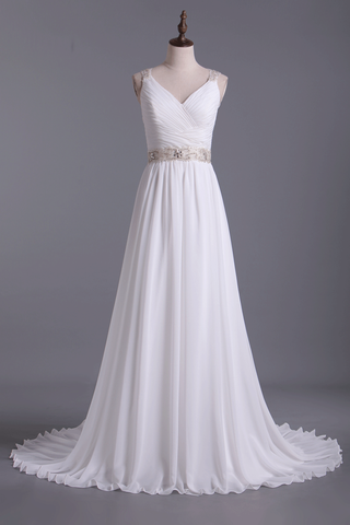 Wedding Dresses Straps Court Train With Ruffles & Beads