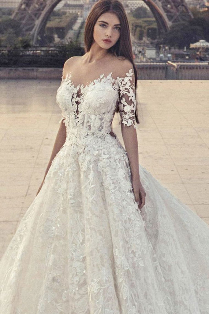 Pretty Half Sleeves Ivory Lace Ball Gown Wedding Dresses Modest Bridal Dresses