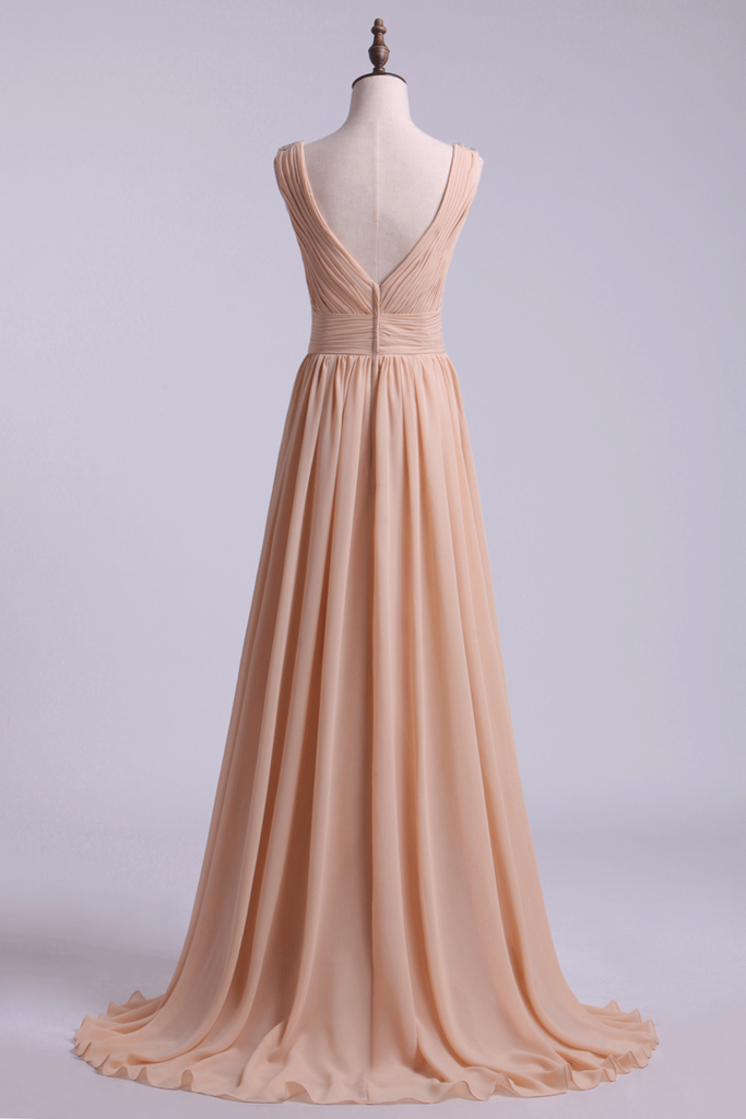 2019 Bridesmaid Dress V Neck A Line Floor Length Chiffon With Beads