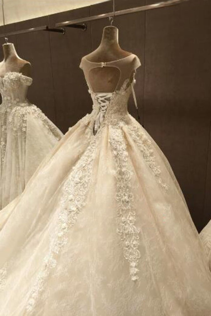 Scoop Ball Gown Tulle Wedding Dresses With Applique And Beads Chapel Train