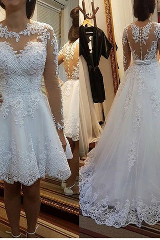 A Line Scoop Neck Wedding Dresses Chapel Train Tulle With Applique & Beading Detachable Skirt Long Sleeves