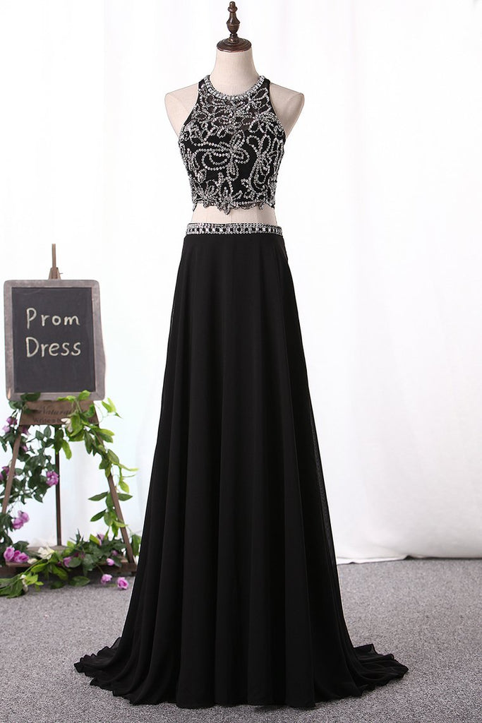 A Line Prom Dresses Scoop Beaded Bodice Chiffon Two Pieces