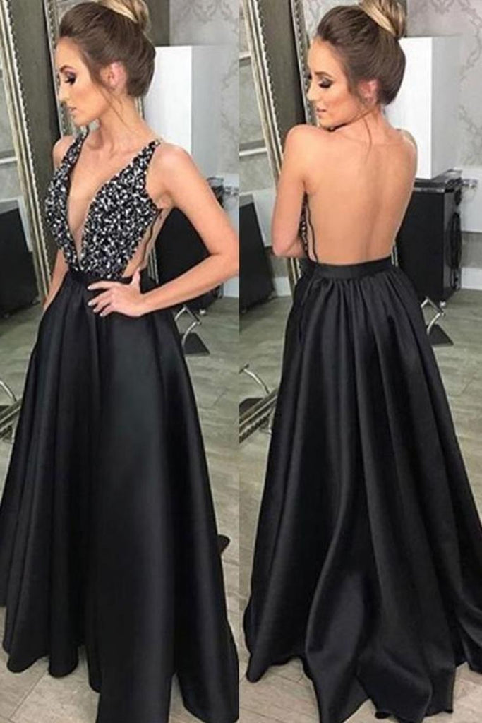 Prom Dress V Neck Satin With Beads And Sequins Open Back
