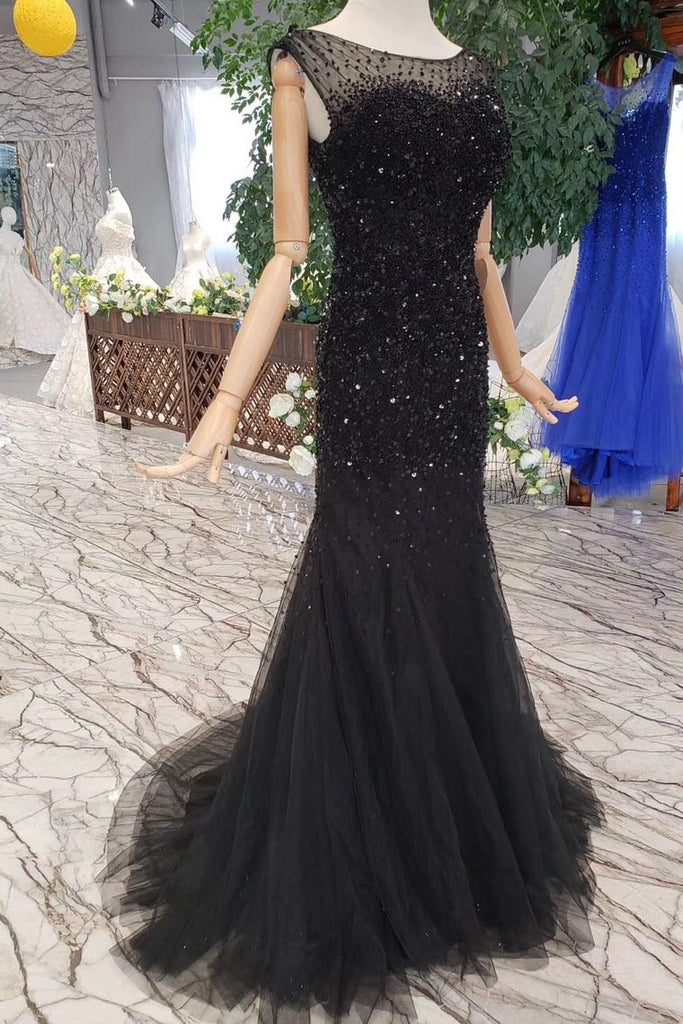 Sequins Bodice Prom Dresses Tulle Mermaid Sweep Train Zipper Up