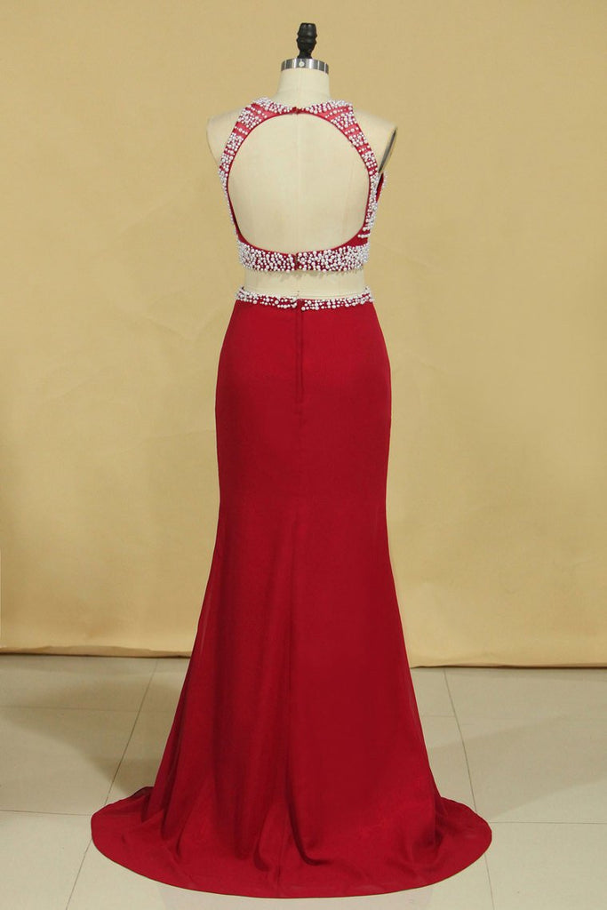 Red Two Pieces Column Scoop Prom Dresses Burgundy Chiffon & Tulle With Beads And Pearls