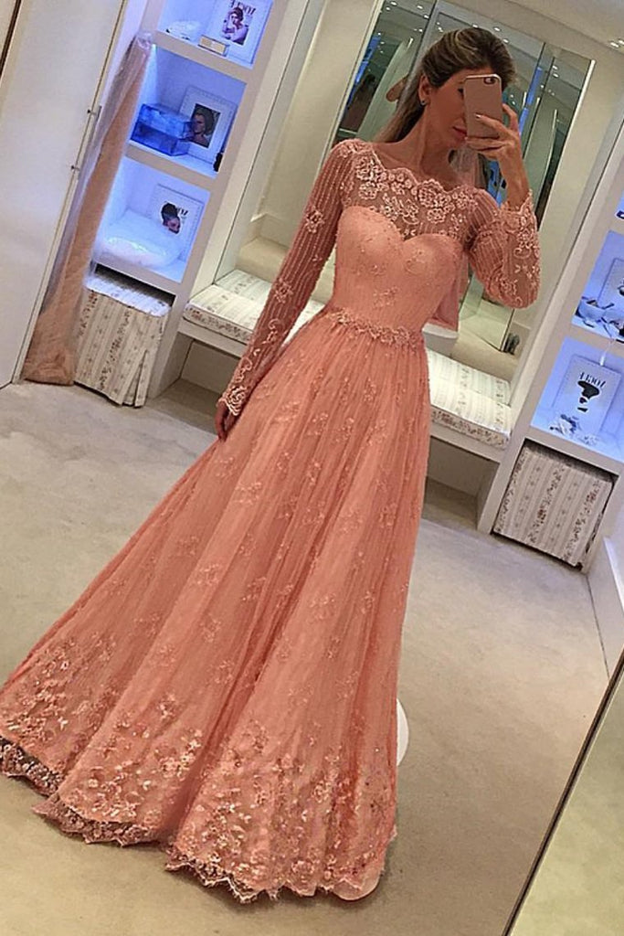 Prom Dresses Long Sleeves A Line Lace With Applique Floor Length