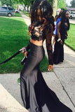 Two Pieces Black Long Sleeve Prom Dresses Mermaid Lace Prom Dress