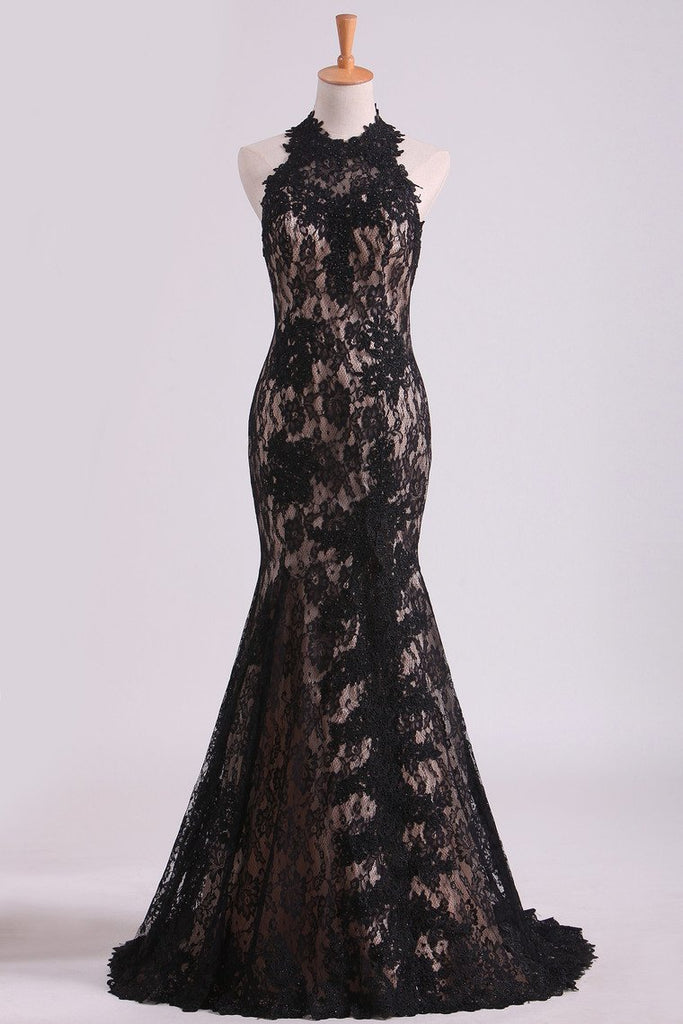 Black Halter Prom Dresses Mermaid Lace Floor Length Open Back