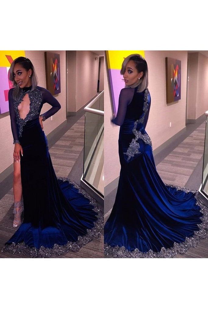 Prom Dresses Mermaid High Neck Long Sleeves Velvet With Beading