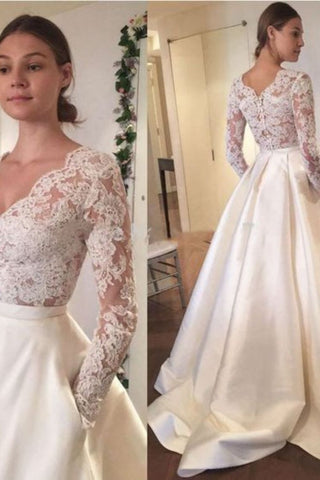 2019 New Arrival Wedding Dresses A-Line V-Neck Long Sleeves Satin Skirt With Applique AndPockets
