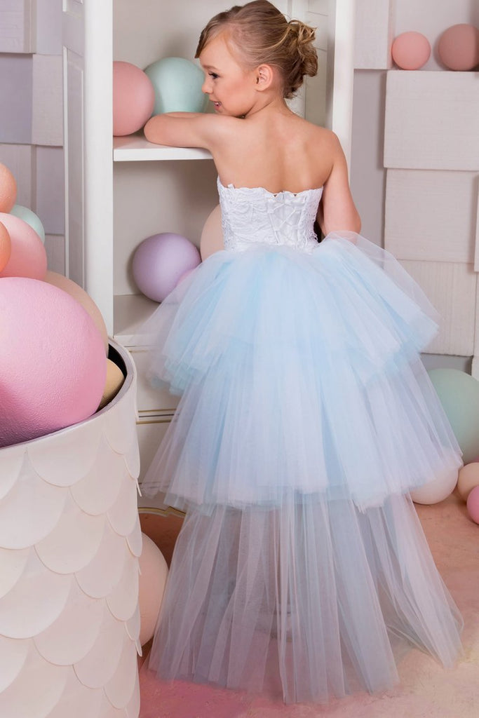 Sweetheart A Line Flower Girl Dresses Tulle & Lace Asymmetrical