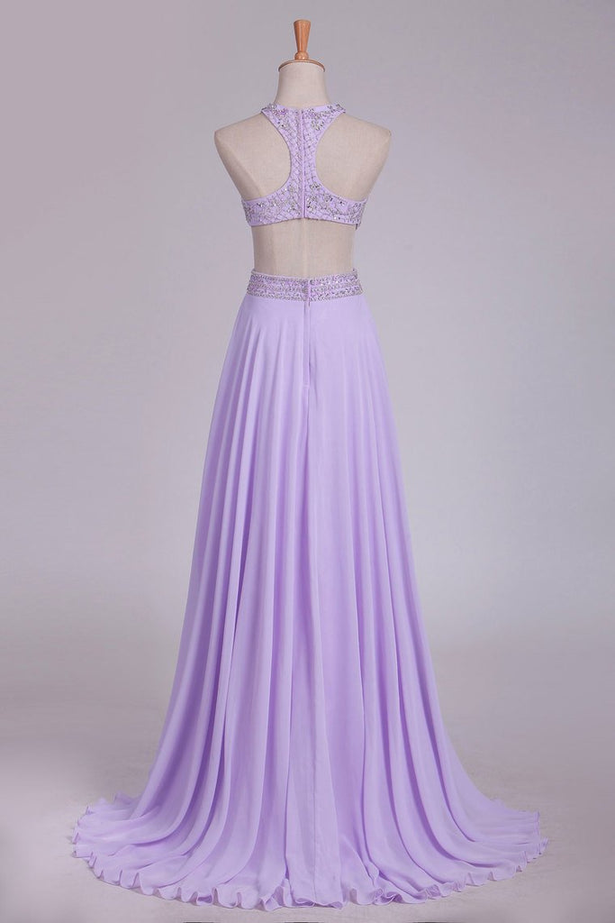 Scoop Prom Dresses A Line Chiffon With Beading Sweep Train