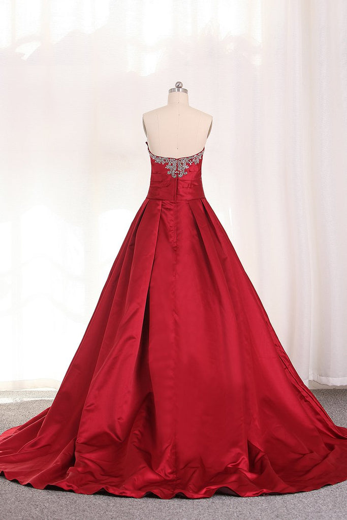 A Line Sweetheart Evening Gown With Beads And Ruffles Sweep Train