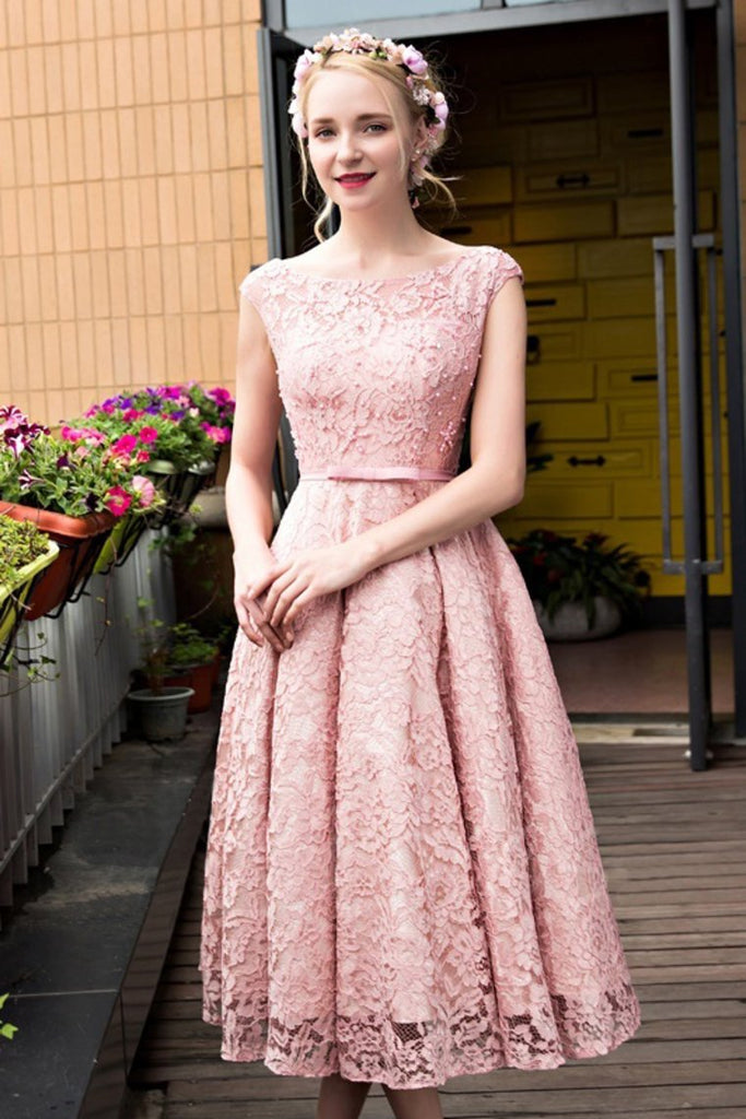 New Arrival Bateau Lace With Beads And Sash A Line Prom Dresses