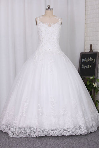 Wedding Dresses Scoop A Line With Beads And Applique