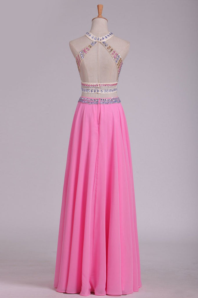 A Line Halter Open Back Two Pieces Beaded Bodice Chiffon & Tulle Prom Dresses