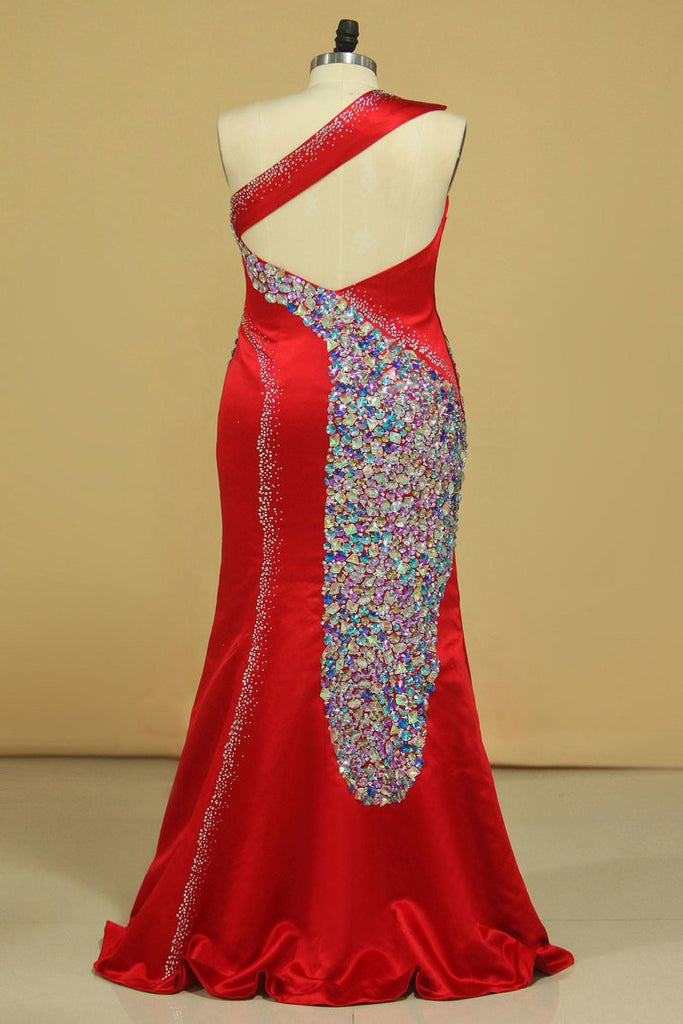 Mermaid/Trumpet One Shoulder Prom Dresses Satin With Beading