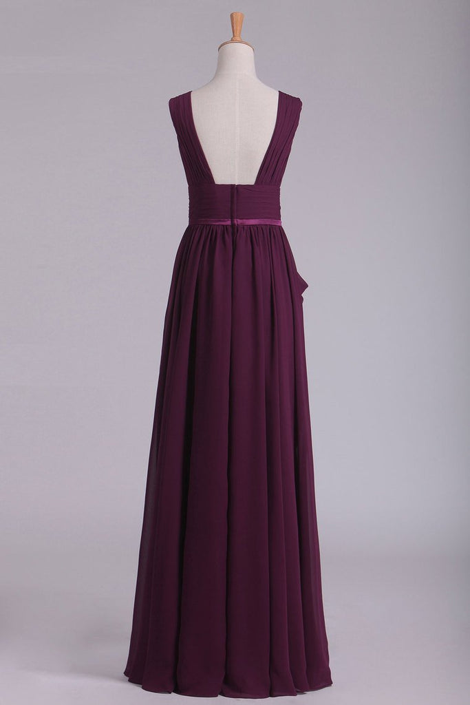 Floor Length V Neck A Line Chiffon With Slit Prom Dresses
