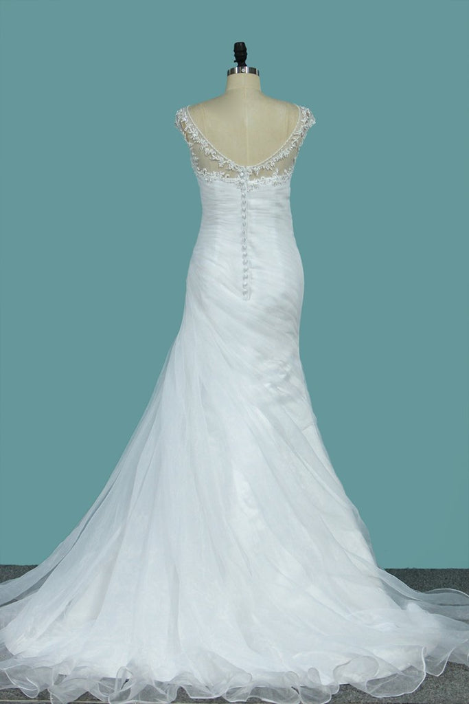 Scoop Mermaid Organza With Applique Ruffles Court Train Wedding Dresses
