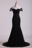Off The Shoulder Prom Dresses Mermaid Train Floor Length With Beading