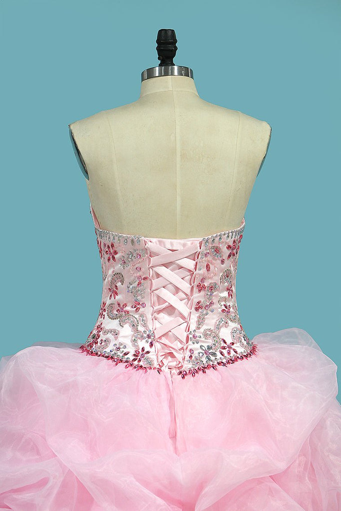 Organza Ball Gown Quinceanera Dresses Sweetheart Beaded Bodice Lace Up