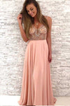 Gorgeous Beaded Pink Chiffon Long V-Neck Spaghetti Straps Evening Prom Dresses JS62