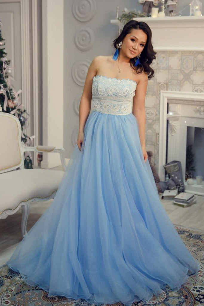 Charming Strapless Long Lace Tulle Light Blue Elegant Prom Dresses