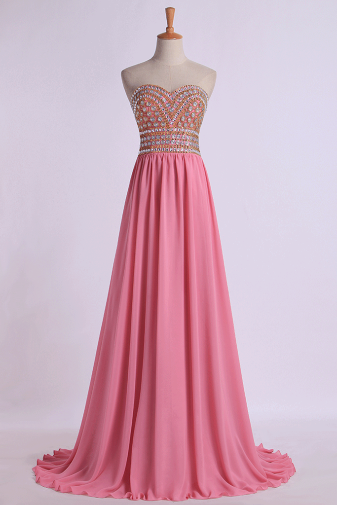 Prom Gown A-Line Sweetheart Sweep/Brush With Beading&Rhinestone Chiffon