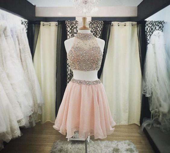 Two Pieces Halter Cute Mini Blush Pink Sexy Short Homecoming Dresses CM925