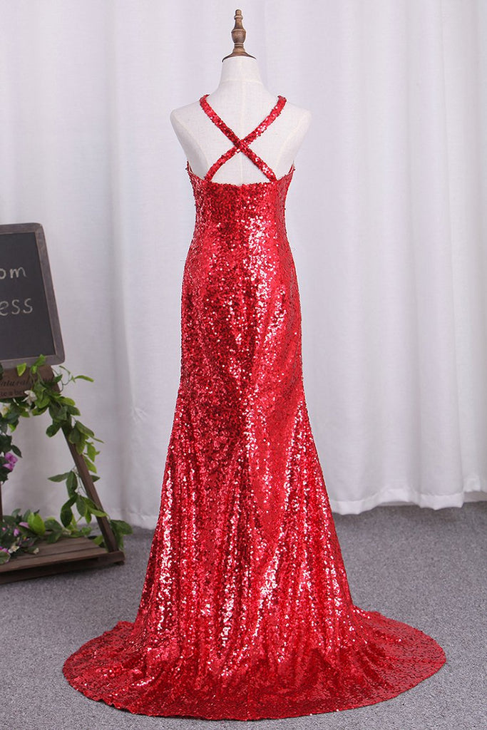 Hot Mermaid Sequins Prom Dresses Halter With Slit Open Back