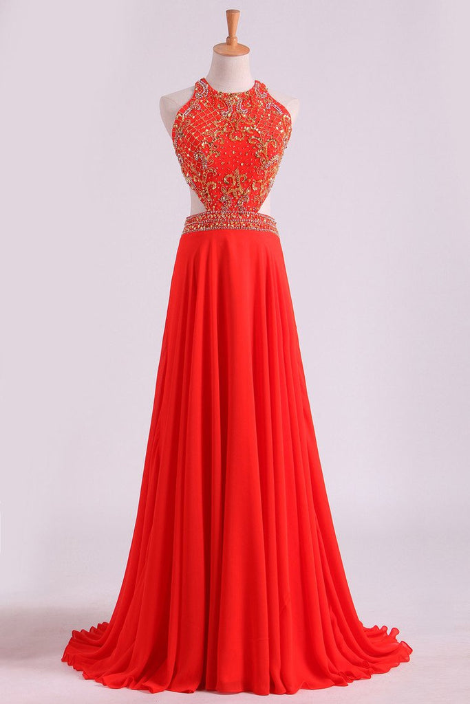 Prom Dresses Scoop A Line Orange Red Chiffon With Beading Sweep Train