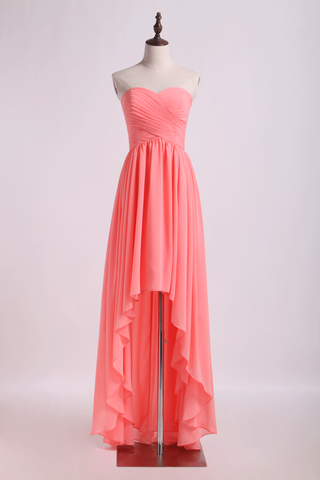 Prom Dresses/High Low Skirt Sweetheart Fitted&Pleated Bodice Chiffon