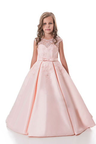 2019 A Line Flower Girl Dresses Scoop Satin With Applique And Sash  Floor Length